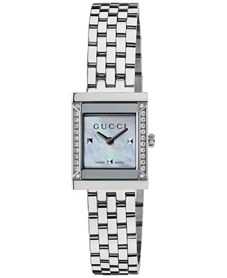 Gucci Watch Women s Swiss G Frame Diamond Accent Stainless Steel