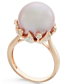 Pink Windsor Pearl (13mm) and Diamond (1/5 ct. t.w.) Ring in 14k Rose Gold