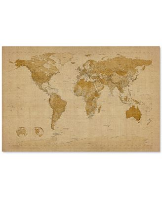 'Antique World Map' by Michael Tompsett Canvas Print