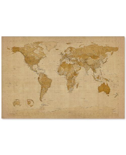 Trademark Global 'Antique World Map' by Michael Tompsett Canvas Print