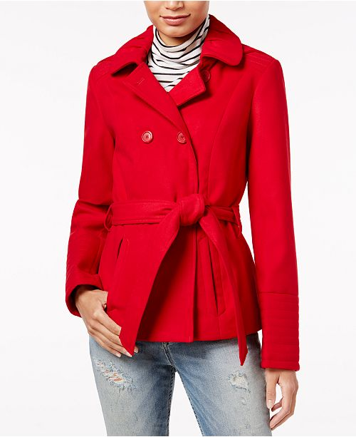 Juniors' Hooded Peacoat