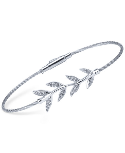 CHARRIOL Women's Laetitia White Topaz-Accent Leaves Stainless Steel Bendable Cable Bangle Bracelet