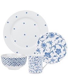 Blue Indigo 16-Piece Dinnerware Set, Created for Macy's, Service for 4