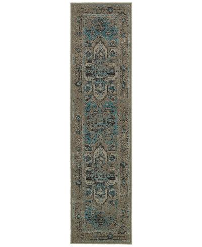 CLOSEOUT! Oriental Weavers Revamp REV7694E Grey/Blue 1'10'' x 7'6'' Runner Rug