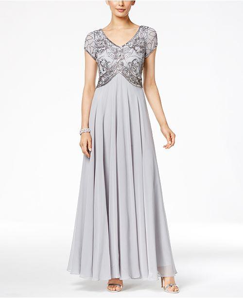 47cdd3ad0eb J Kara V-Neck Embellished A-Line Gown   Reviews - Dresses ...