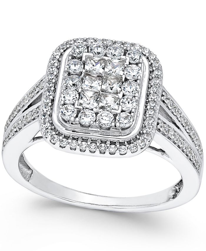 Macy's - Diamond Square Cluster Engagement Ring (1 ct. t.w.) in 14k White Gold
