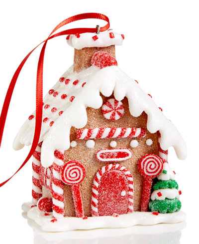 Holiday Lane Candy Cane Gingerbread House Ornament