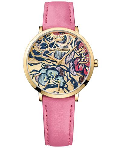 Juicy Couture Women's LA Ultra Slim Light Pink Leather Strap Watch 35mm 1901456