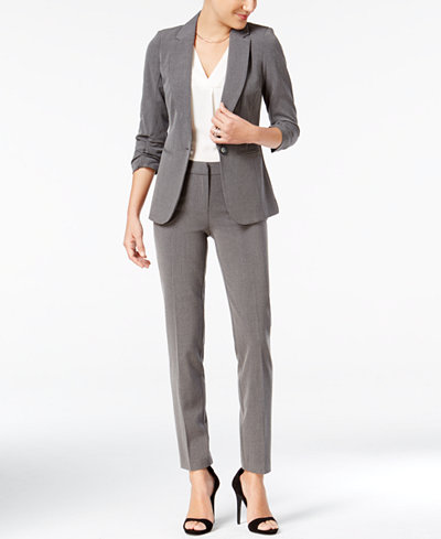 XOXO Juniors' Ruched-Sleeve Blazer & Straight-Leg Pants