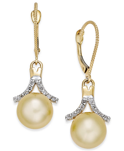 Cultured Golden South Sea Pearl (9mm) and Diamond (1/5 ct. t.w.) Drop Earrings in 14k Gold