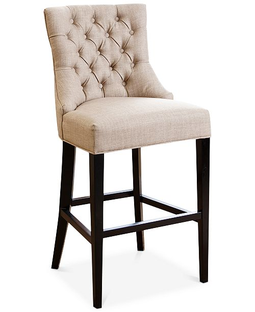 Abbyson Living Jerrod Tufted Upholstered Bar Stool, Quick Ship
