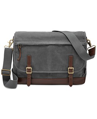 Fossil Men's Waxed Canvas Defender Messenger Bag - Accessories ...