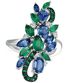 Precious Collection Sapphire (2 ct. t.w.), Emerald (1 ct. t.w.) and Diamond (1/5 ct. t.w.) Statement Ring in 14k White Gold, Created for Macy's