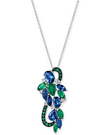 Le Vian® Precious Collection Sapphire (3 ct. t.w.), Emerald (1-1/4 ct. t.w.) and Diamond (1/5 ct. t.w.) Pendant Necklace in 14k White Gold, Created for Macy's