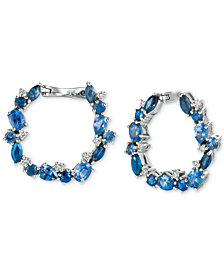 Le Vian® Precious Collection Sapphire (3 ct. t.w.) and Diamond (1/5 ct. t.w.) Hoop Earrings in 14k Gold, Created for Macy's