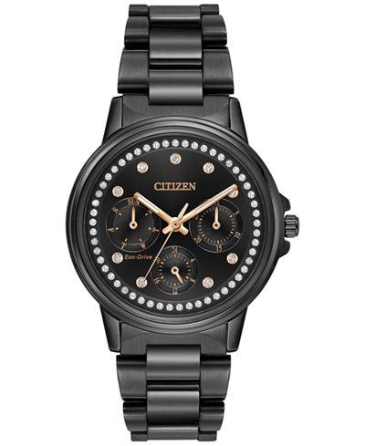 Citizen Women's Eco-Drive Nighthawk Black Ion-Plated Stainless Steel Bracelet Watch 36mm FD2047-58E