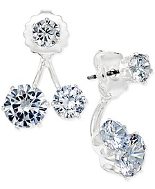INC Silver-Tone Cubic Zirconia Double-Stud Earring Jacket Earrings, Created for Macy's