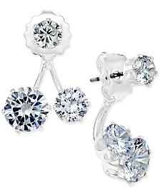I.N.C. Silver-Tone Cubic Zirconia Double-Stud Earring Jacket Earrings, Created for Macy's