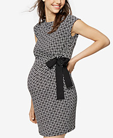 Taylor Maternity Printed Side-Tie Dress