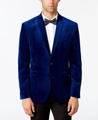Bar III Men's Slim-Fit Cobalt Blue Velvet Sport Coat, Created for ...