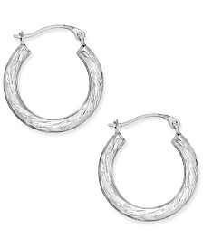 Patterned Hoop Earrings in 10k White Gold