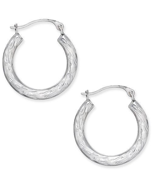 Macy's Patterned Hoop Earrings in 10k White Gold