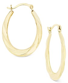 Oval Swirl Hoop Earrings in 10k Gold