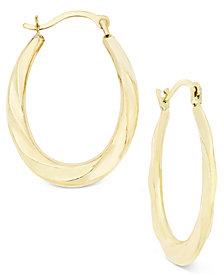 Oval Swirl Hoop Earrings in 10k Gold