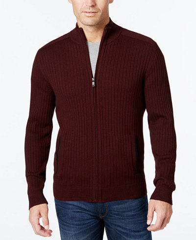 Alfani Men's Ribbed Full-Zip Sweater, Classic Fit, Created for ...