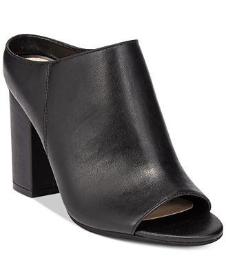 Bar III Matilda Peep-Toe Block-Heel Mules, Only at Macy's