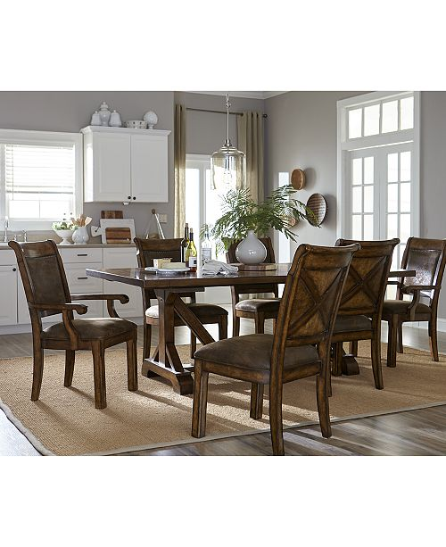 Furniture Mandara 9 Pc Dining Room Set Trestle Table 6 Side