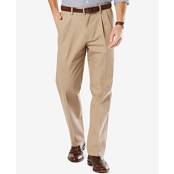 Dockers Men's Stretch Classic Pleated Fit Signature Khaki Pants