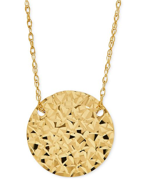Macy's Patterned Disc Pendant Necklace in 10k Gold