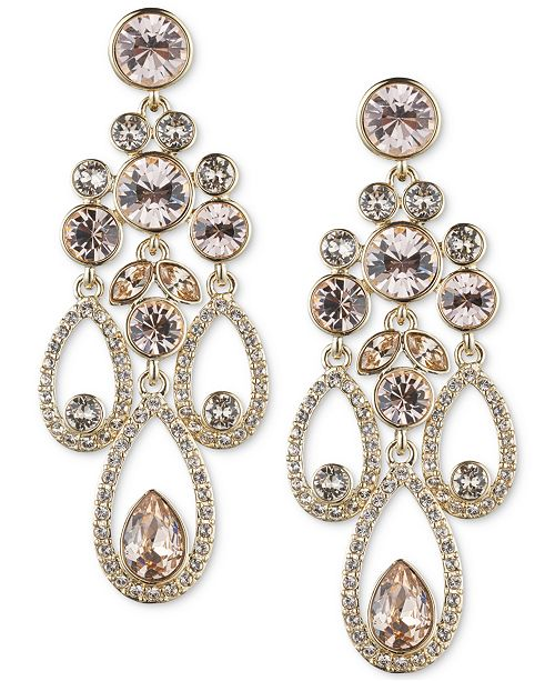 Red Givenchy Chandelier Earrings: Givenchy Gold-Tone Crystal And Pavé Chandelier Earrings