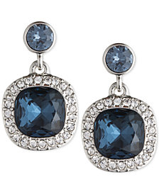 Givenchy Silver-Tone Dark Blue Crystal and Pavé Drop Earrings