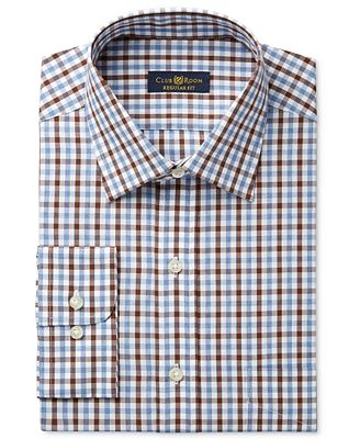 Club Room Estate Men's Classic-Fit Wrinkle-Resistant Chestnut Faded Gingham Dress Shirt, Only at