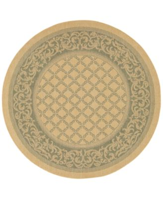 CLOSEOUT! Round Rug, Indoor/Outdoor Recife 1016/5016 Garden Lattice Natural-Green 7'6""