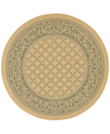 CLOSEOUT! Couristan Round Rug, Indoor/Outdoor Recife 1016/5016 Garden Lattice Natural-Green 7'6""