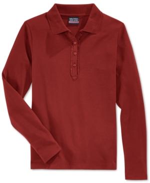 Nautica School Uniform Ruffled LongSleeve Polo Shirt Big Girls Plus (820)