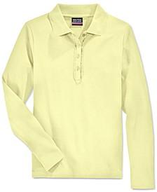 School Uniform Ruffled Long-Sleeve Polo Shirt, Big Girls Plus