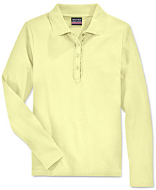 Nautica School Uniform Ruffled Long-Sleeve Polo Shirt, Big Girls Plus