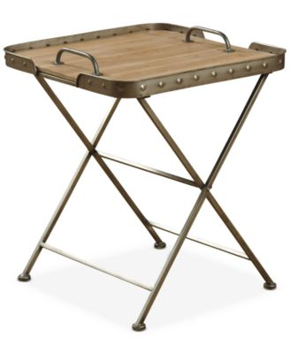 Venten Top Folding Side Table With Removable Tray Top, Quick Ship
