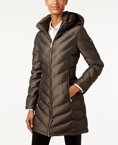 Calvin Klein Hooded Chevron Water Resistant Down Puffer