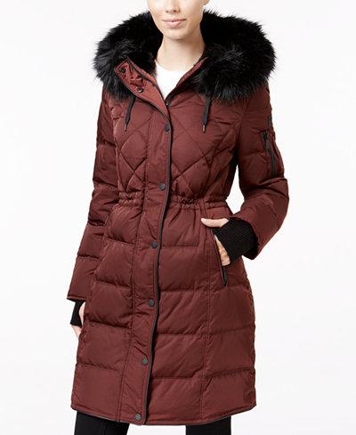 Bcbgeneration Faux Fur Trim Cinched Waist Puffer Coat