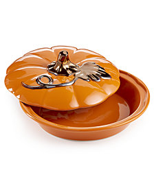 Martha Stewart Collection Ceramic Pumpkin Pie Keeper, Created for Macy's