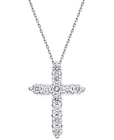 Diamond Cross Pendant Necklace (1-1/2 ct. t.w.) in 14k White Gold