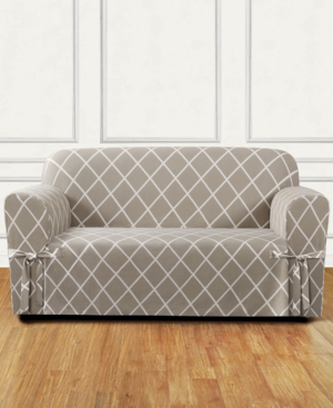 Sure Fit Lattice OnePiece Straight Skirt with Cord Loveseat Slipcover Bedding