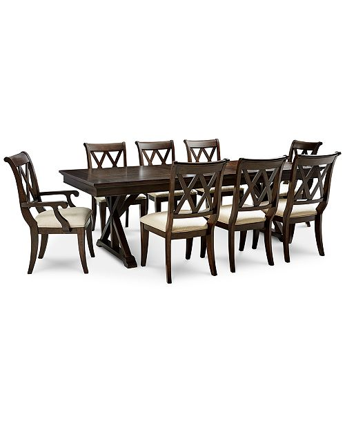 Baker Street Dining Furniture 9 Pc Set Trestle Table 6 Side Chairs 2 Arm