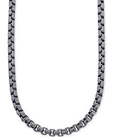 Esquire Men's Jewelry Antique-Look Link Chain Necklace in Gunmetal IP over Stainless Steel, Created for Macy's