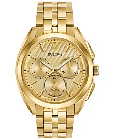 Bulova Men's Chronograph Curv Gold-Tone Stainless Steel Bracelet Watch 45mm 97A125